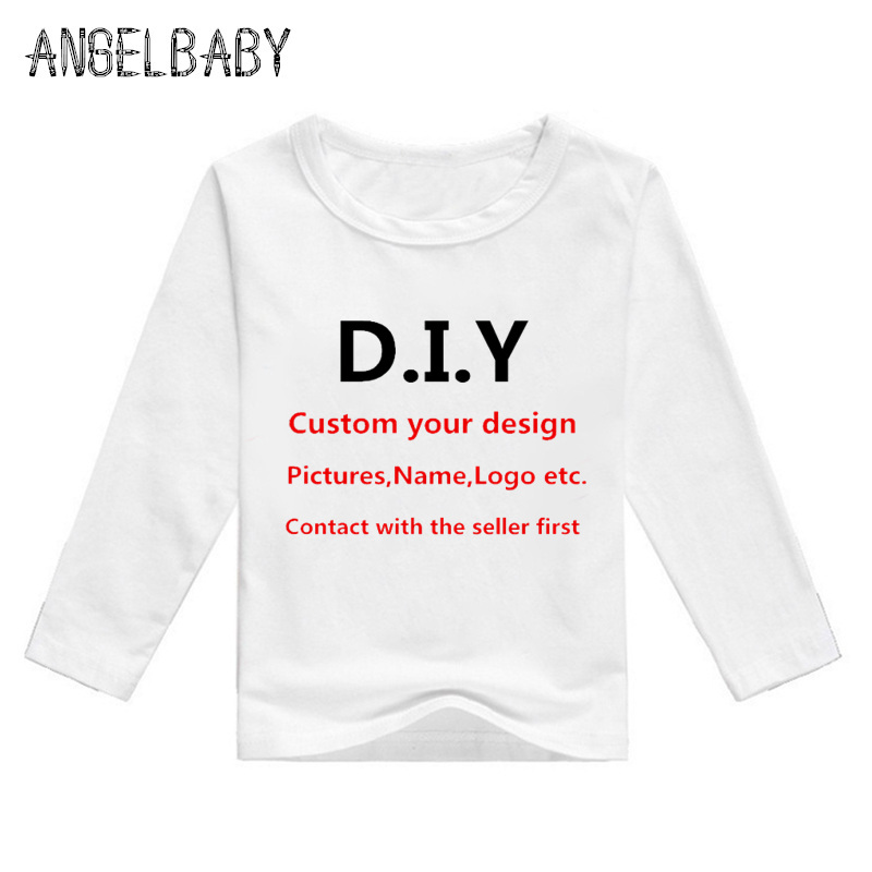 Boys/Girls DIY Clothes Baby <font><b>Custom</b></font> Your Own Design T-shirt Kids Customized Print Long Sleeve <font><b>Tshirt</b></font>,Contact With Seller First image