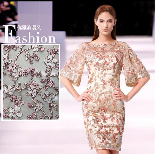Champagne gold leaf Illuminate Polyester embroidery Mesh lace fabric Plant flower wedding dress costume DIY patches fabric A049 in Fabric from Home Garden