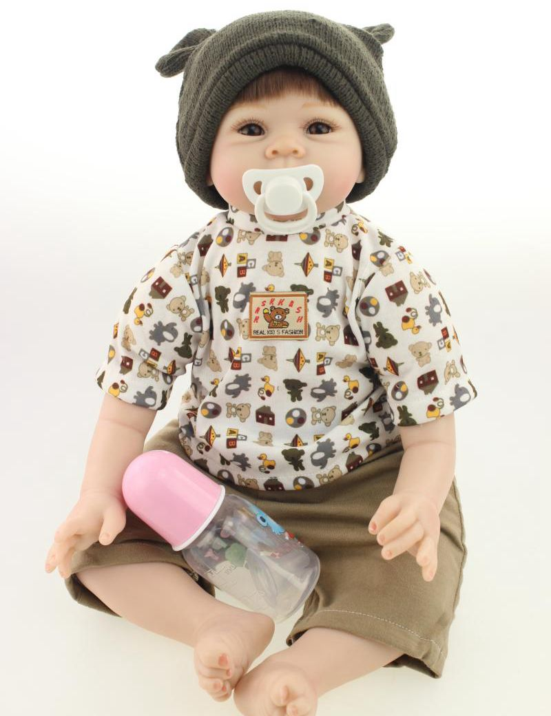 Buy 22inch Silicone Reborn Baby Doll Boy Alive Simulation Toddler Collectible Kids Toys Women Nursery Training