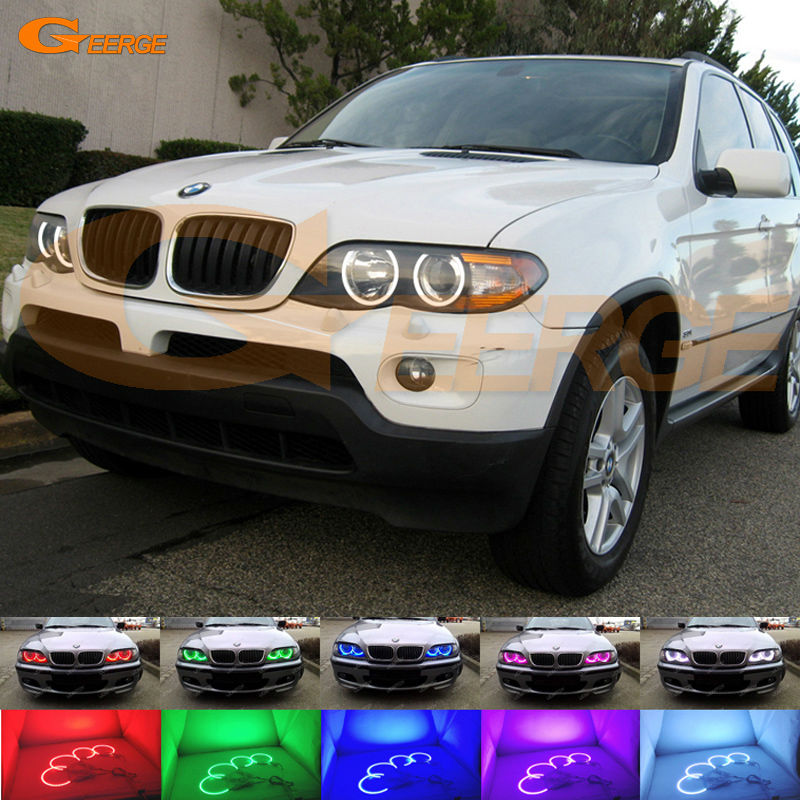 For BMW X5 E53 2004 2005 2006 Excellent Angel Eyes Multi-Color Ultra bright RGB LED Angel Eyes kit super bright led angel eyes for bmw x5 2000 to 2006 color shift headlight halo angel demon eyes rings kit
