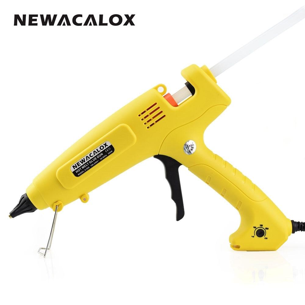 NEWACALOX 300 watt Hot Melt Kleber Gun EU Stecker Smart Temperatur Control Kupfer Düse Heizung Heizung 110 v 220 v wachs 11mm Kleber Stick