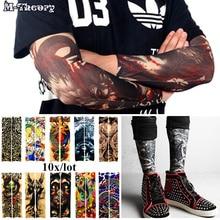 M-theory 10 pcs Arm Sleeve 3D Tattoo Biker Stockings Leggings Elastic Temporary Henna Flash Tatoo Body Arts Makeup Tools