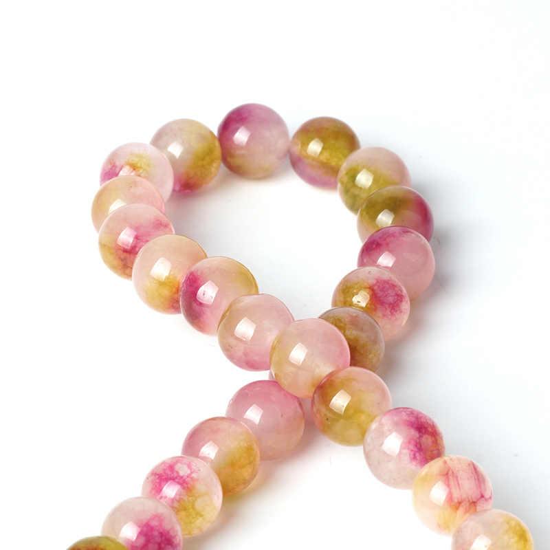Topgood cuentas de piedras preciosas naturales Rosa jaspe rojo cuentas sueltas de Rosario 6/8/10mm 15 ''gema de cuarzo de Jade para la fabricación de pulseras