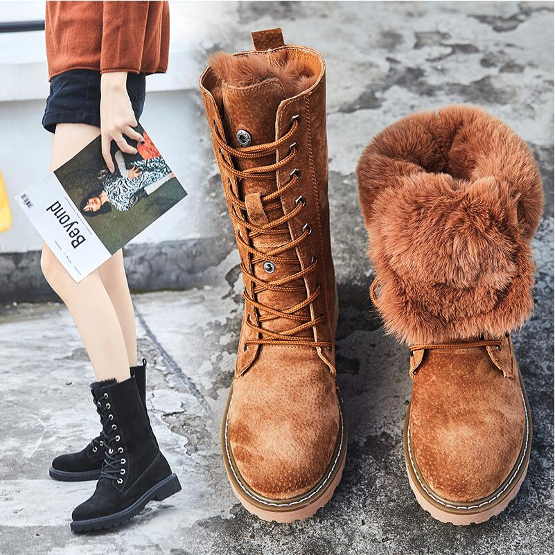Winter Boots With Fur Women Lace Up Boots high 2018 Womens Shoes Genuine Leather Mid Calf Boot Leather Non Slip botas mujer laconic women s mid calf boots with lace up and chunky heel design