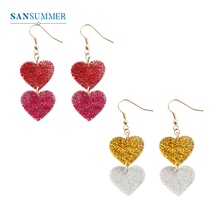 SANSUMMER Women Earings Fashion Jewelry Crystal Transparent Gouache Double Heart Stereo Earrings Female Drop 6323