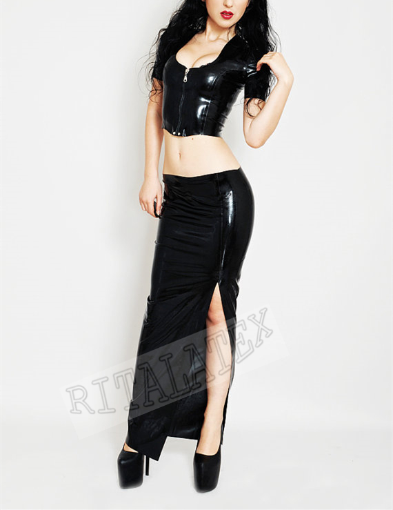 Длинные латекс юбка с Топы низкая талия черные длинные сексуальные юбки латекса рубашка сексуальный наряд