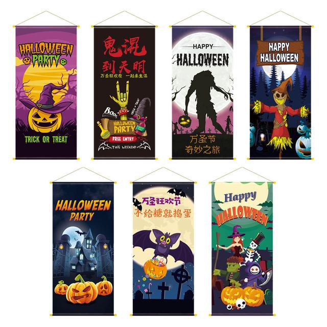 New Halloween Fabric Cloth Background Poster Wall Decoration Bar KTV Halloween Backdrop Hanging Flag