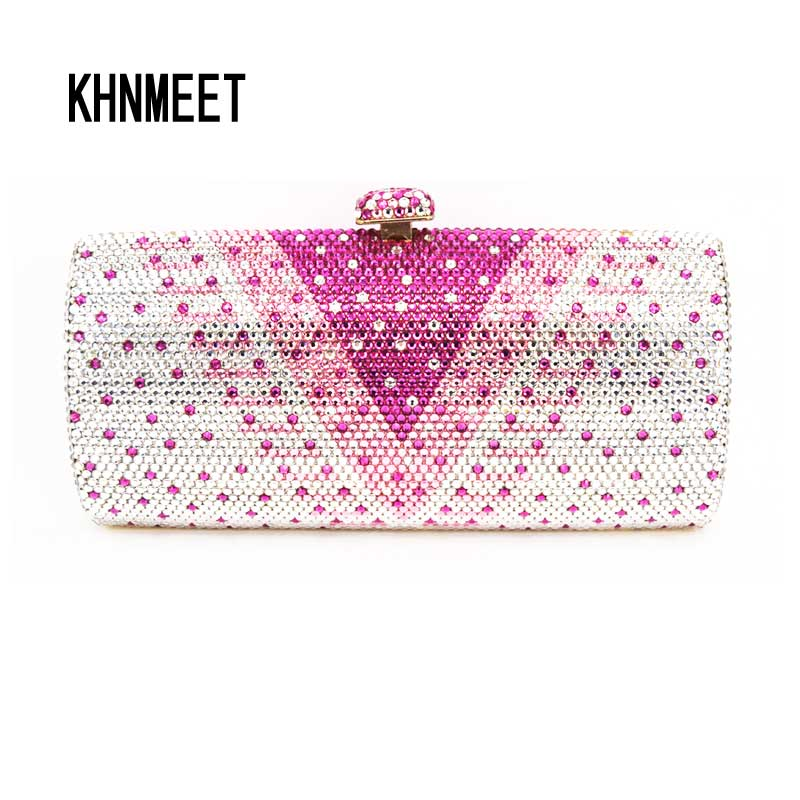 LaiSC Beautiful Crystal Applique Long Shaped Wedding Clutch Bags Full Crystal Pink party purse DIY Evening