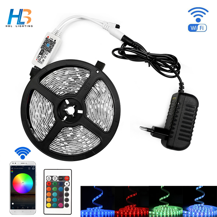 5M 2835 5050 RGB WIFI LED Strip light Waterproof RGB 10M led ribbon tape Remote WIFI Wireless Controller 12V power adapter IP20