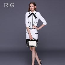 RockGeorge Preppy Style Women Skirt Suit White Black Female Jacket+Mini Skirts Set Formal Business Costumes for Women 2017