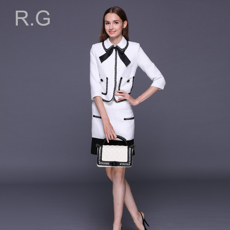 RockGeorge Preppy Style Women Skirt Suit White Black Female Jacket+Mini Skirts Set Formal Business Costumes for Women 2017