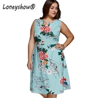 Loneyshow Floral Print Vintage Summer Women Dress Vestidos 2018 New Elegant Sleeveless O Neck Knee Length