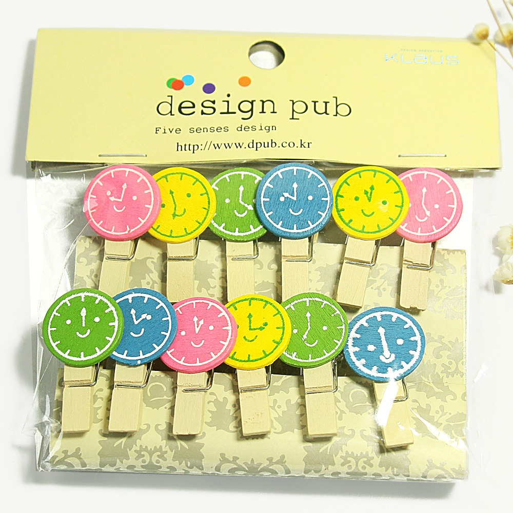12 Pcs/lot Creative Clock Series Wooden Clip Photo Paper Clothespin Craft Clips Party Decoration Clip With Hemp Rope
