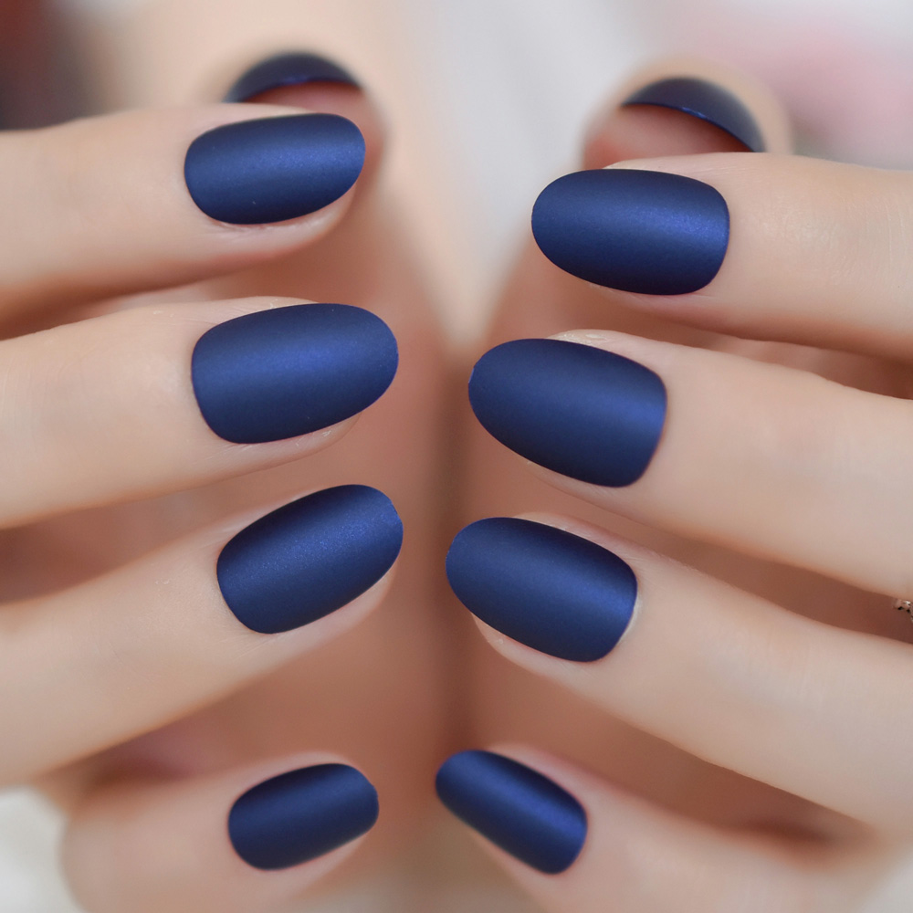 Matte Oval Short Nails Navy Blue Color Nails Frosted