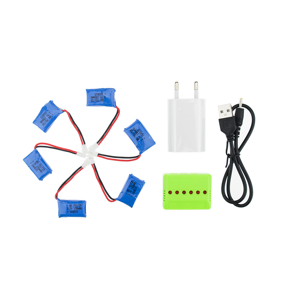 6pcs Lipo Battery 150mAh 3.7V With Green USB Charger Set For Eachine H8 Mini JJRC Syma X2 Nihui U207 H2 Quadcopter Helicopter детская игрушка nihui u207 4 6 rc 2015