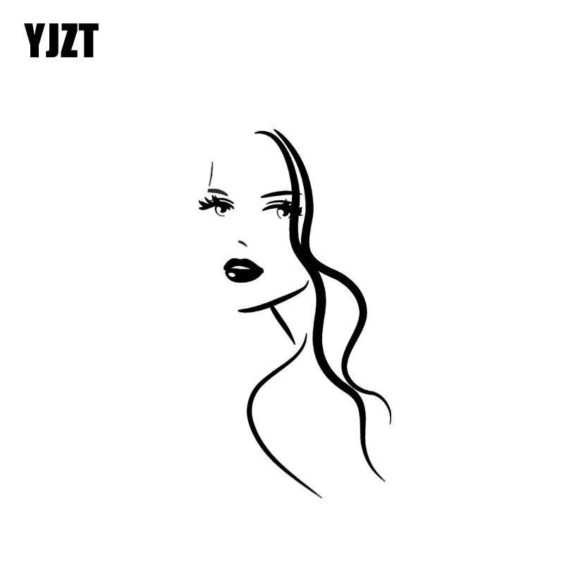 YJZT 6.4*12.4CM Sexy Girl Face Cute Black/Silver Fashion Advanced Design Vinyl Decals Covering The Body Good Quality C20-0329
