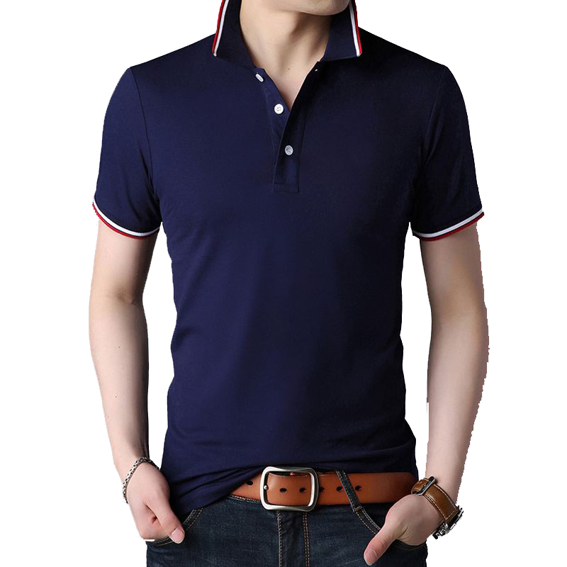 BROWON 2018 New Casual Mens Tshirts Summer Short Sleeve Turn-down Collar Work Social T-shirt for Men Black T-shirt