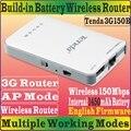 Английский прошивки Tenda 3G150B портативный 150 м беспроводной 3 г 1450 мАч аккумулятор - питание 3 GRouter 150 Мбит путешествия пляж WiFi маршрутизатор