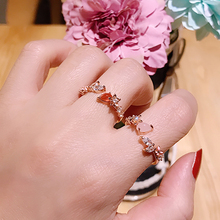 Heart Flower Cubic Zircon Adjustable Crystal Rings SF