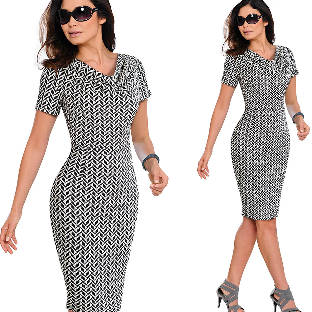 Nice-forever Women Vintage Wear to Work Elegant vestidos Business Party Bodycon Sheath Office Ruffle Female Dress B452 49