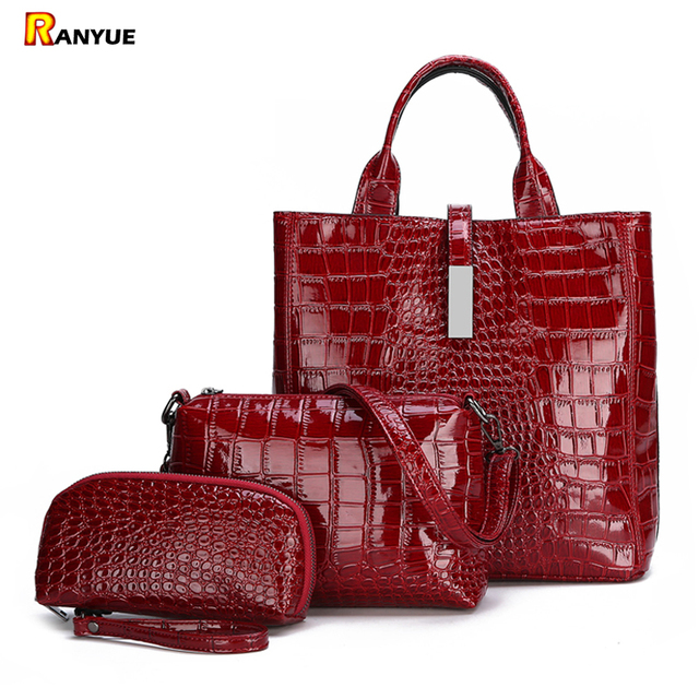3pcs Black Red Patent Leather Tote Bags For Women Handbags Set Luxury Designer Brand Shoulder Crossbody Women Bag+Clutch Purse