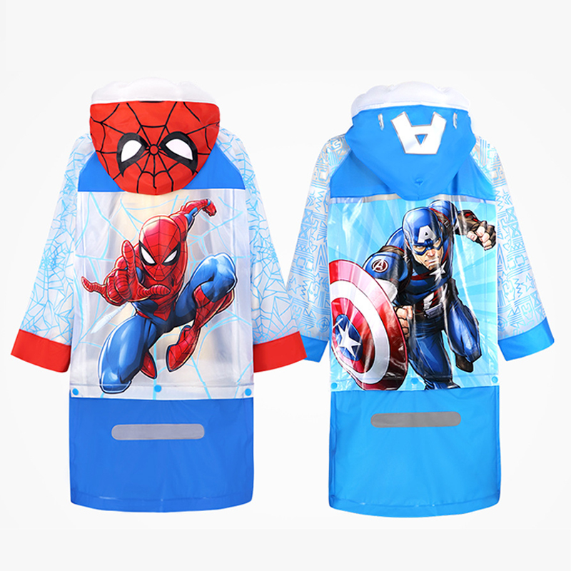 Children Raincoat Girl Boy Raincoats Spiderman Poncho Waterproof Rain Poncho Rain Gear Hooded Captain America Baby Boys Rainwear