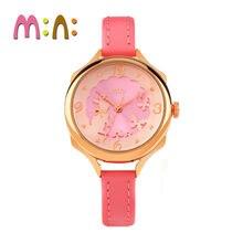 2017 MINI Kids Watch Children Watch Fashion Cute Simple Girls Waterproof Korea Rabbit Bear Leather clock