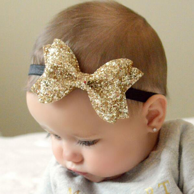 New Cute Newborn Shiny Sequins Bow Knot Headband Girls Bow Elasticity Hair Band Kids Headband Girls Hair Accessories sequin bow minnie mouse ears headband for kids shiny glitter hair bow hairbands girls photography props hair accessories