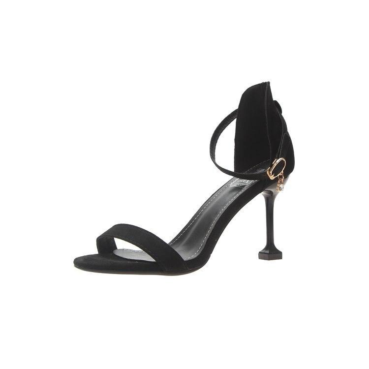 Bouton Chaussures Nouveau Été kaki Un Les De Daim Hauts Noir Coréenne Talon Sexy À Romain Mode Pour vert Sandales Mince Femmes 2019 Simple Talons Femmes 50Xdpwq0