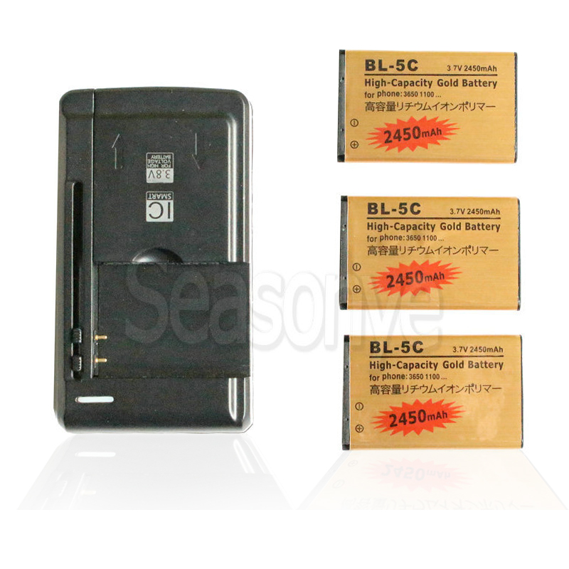 Seasonye 3x 2450mAh BL-5C BL5C BL 5C Gold Replacement Battery + Universal Charger For Nokia C2-06 C2-00 X2-01 1100 6600 1000Seasonye 3x 2450mAh BL-5C BL5C BL 5C Gold Replacement Battery + Universal Charger For Nokia C2-06 C2-00 X2-01 1100 6600 1000