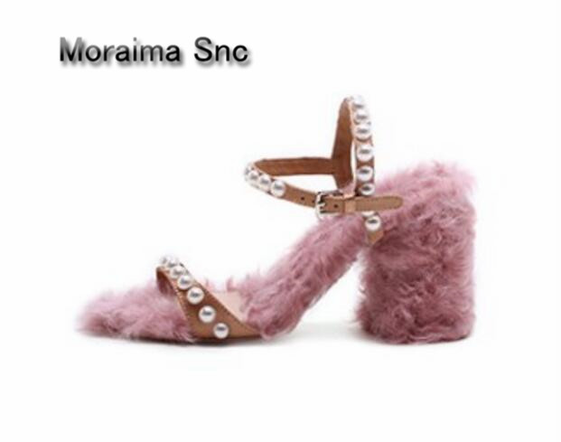Moraima Snc ladies shoes summer pink Wool roll High production sandales femme pearl Handmade square high heels sandals women rakesh kumar production potential of summer mungbean cultivars in india