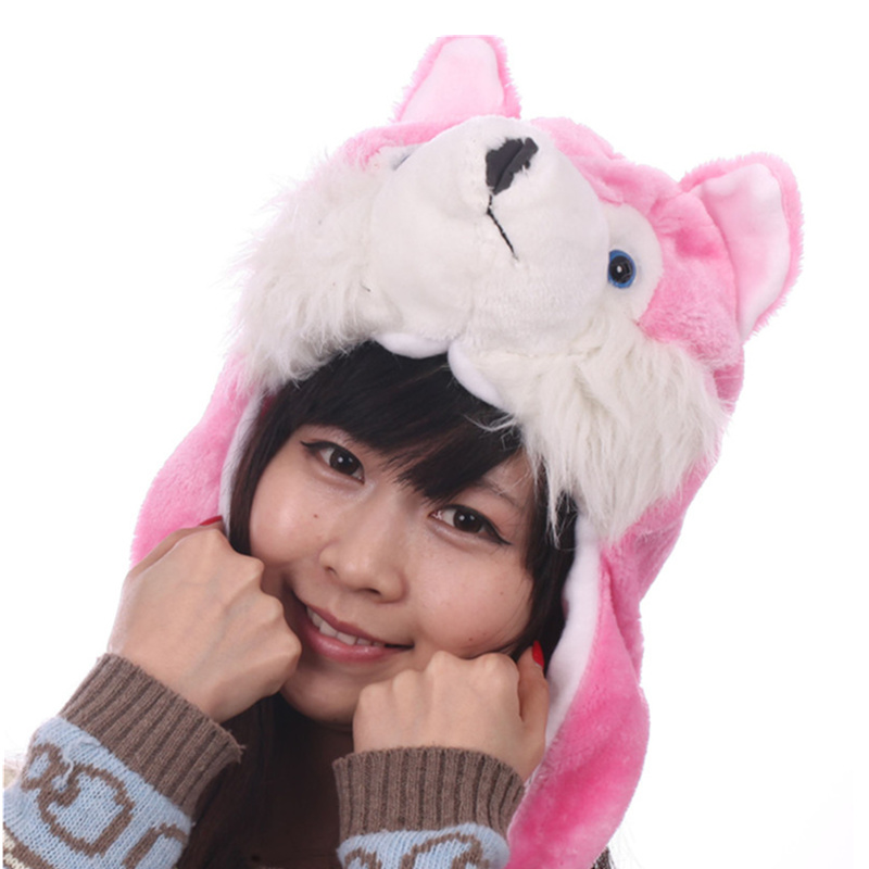 DOUBCHOW Adults Teenages Kids Boys Girls Cartoon Animal Hat Cute Pink Black Grey Coffee Wolf Plush Winter Warm Cap Beanie Hat stylish number 5 soft hat cap grey pink