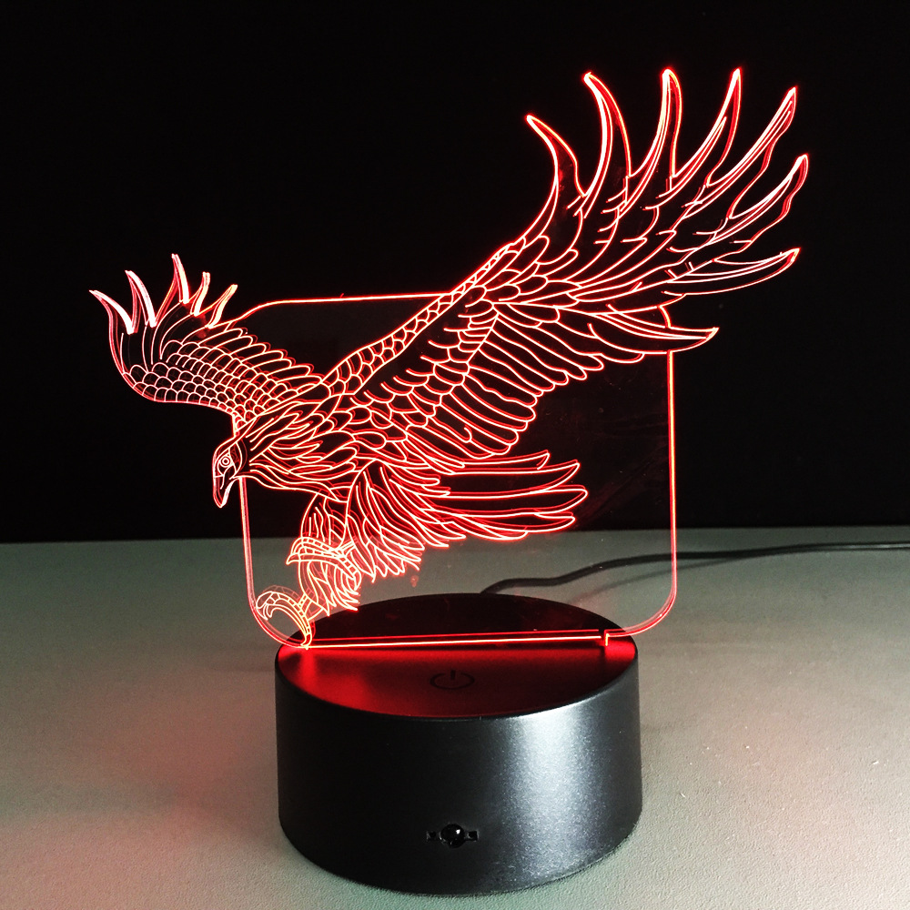 The Eagle 3D Lamp Night light baby led 7 Color Acrylic Remote Switch Crystal lamps USB bedroom light Desk lamp