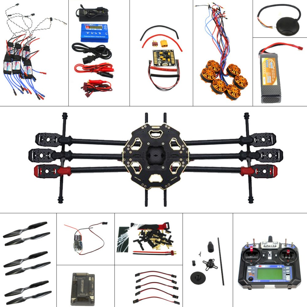 F07807-D Full Set 6-axis Aircraft Kit Helicopter Drone Tarot 680PRO Frame 700KV Motor GPS APM 2.8 Flight Control 6CH Transmitter full helicopter drone aircraft kit tarot 680pro frame 700kv motor gps apm 2 8 flight control at10 transmitter f07807 a