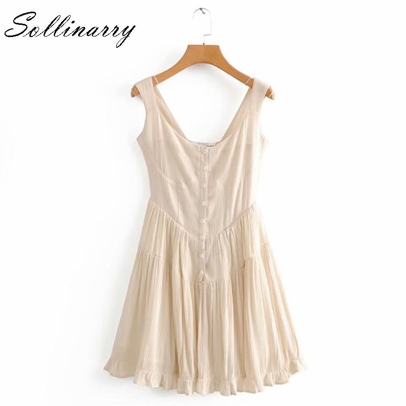 Sollinarry Casual Strap Mini Dress Women 2019 Summer Sleeveless Party Women Dresses Retro Beach Short Dress Feminine Vestidos