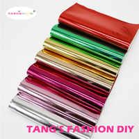 7PCS--20X22CM DIY METAL COLOR PU cuero brillante conjunto cuero sintético/tela DIY puede elegir el COLOR
