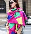Женская европейский известный бренд толщиной большой зимой кашемир шерстяной шарф женщин очень большой шарф красный плед мода кашемира шарфы