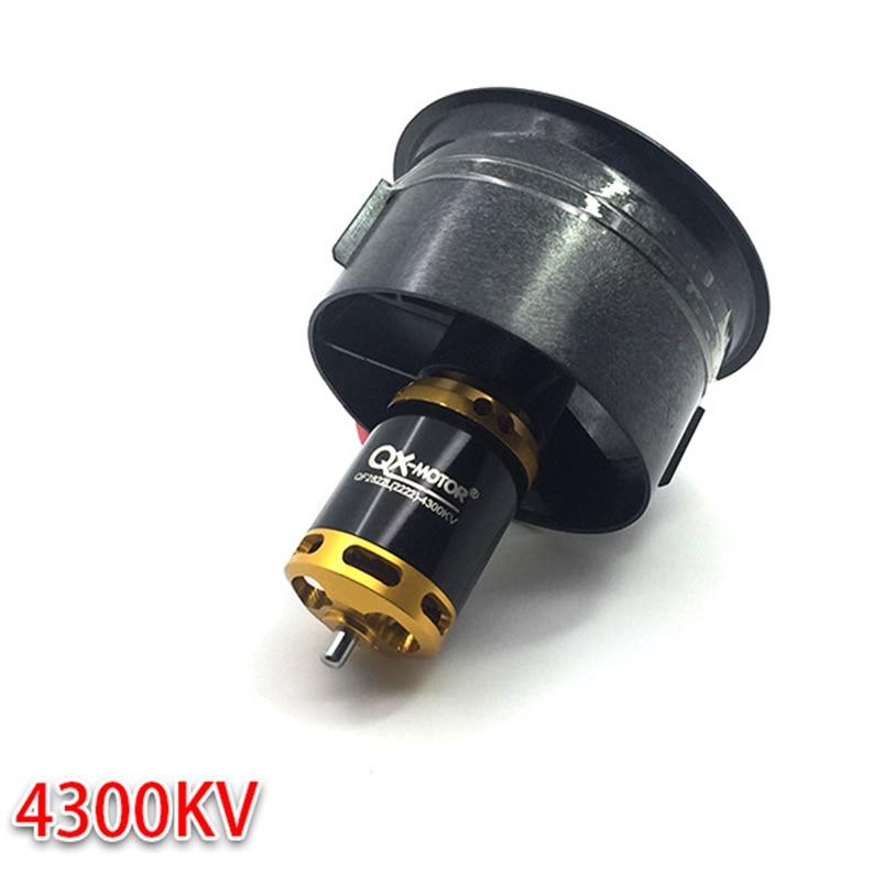 QX-MOTOR Motor sin escobillas 64mm EDF Ducted Fan Set 5 cuchillas eléctrico con 3-4 s 4300KV Outrunner QF2822 para Jet avión