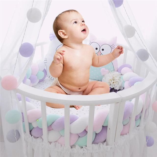 Braided Long Knotted Ball Crib Guardrail Bumper Anti-Collision Protective Baby Bed Protector Rope Baby Care