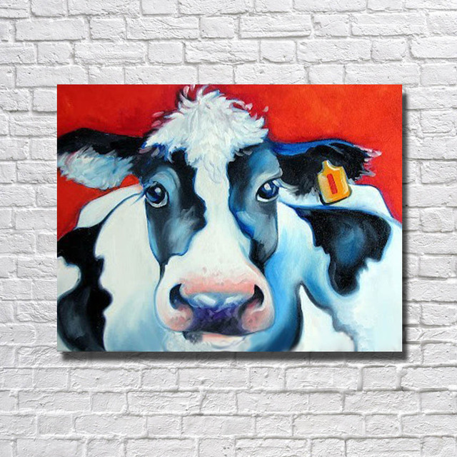 BA Oil Painting Hand Painted Big Size High Quality Beautiful Cow Oil  Painting Home Decor Wall