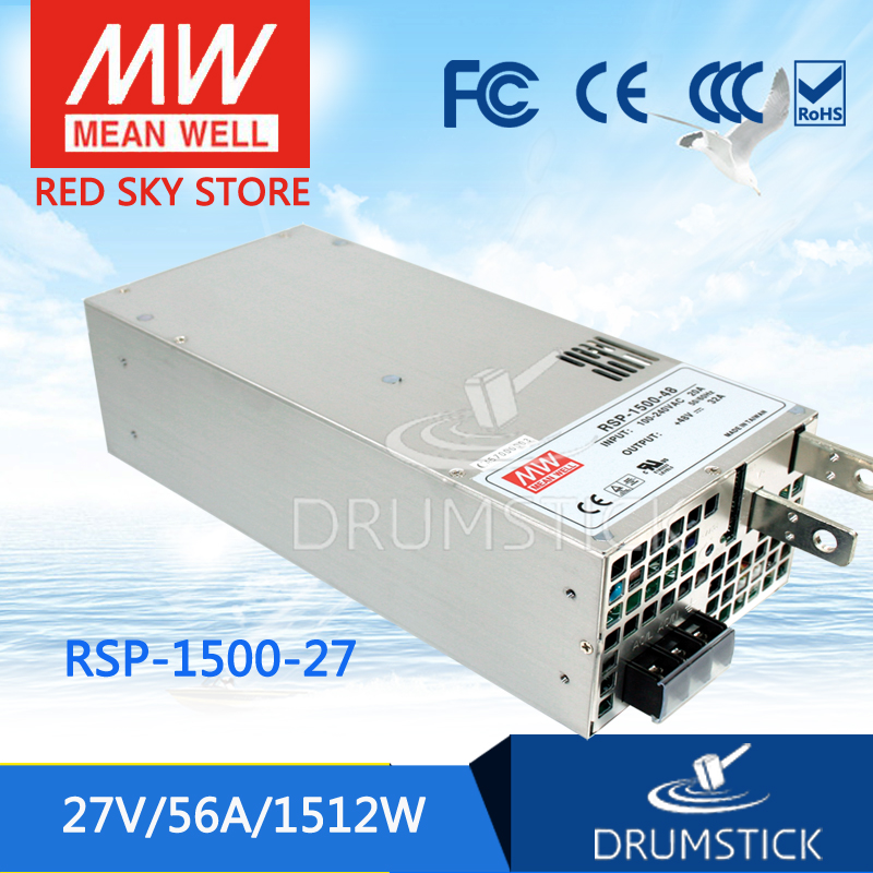 Selling Hot MEAN WELL original RSP-1500-27 27V 56A meanwell RSP-1500 27V 1512W Single Output Power Supply 1mean well original gc160a24 ad1 27 2v 5 89a meanwell gc160 27 2v 160 2w single output battery charger
