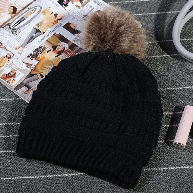 1e43d11a819ad JTVOVO Brand hats label women knitted beanie cap with thicker cashmere  female Pom pop winter warm