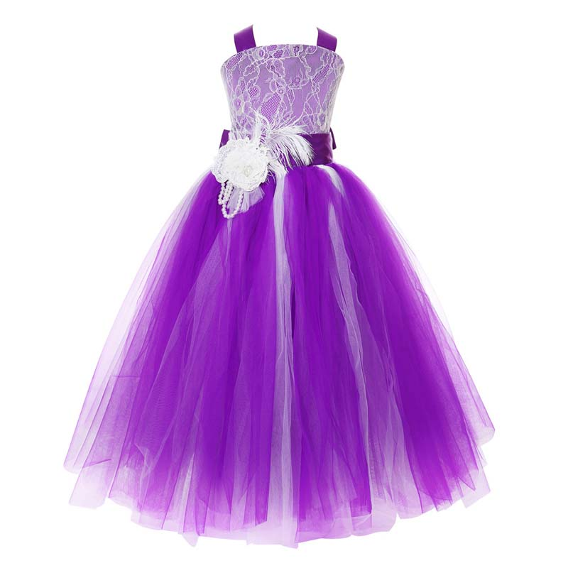 New Princess Lace Girls Dress Flower Girl Tutu Pageant Formal Dresses Sleeveless Crossed Back Wedding Birthday Party For Kids 2017 kids girls wedding flower girl dress princess party pageant formal dress crossed back sleeveless lace tulle dress 2 14y