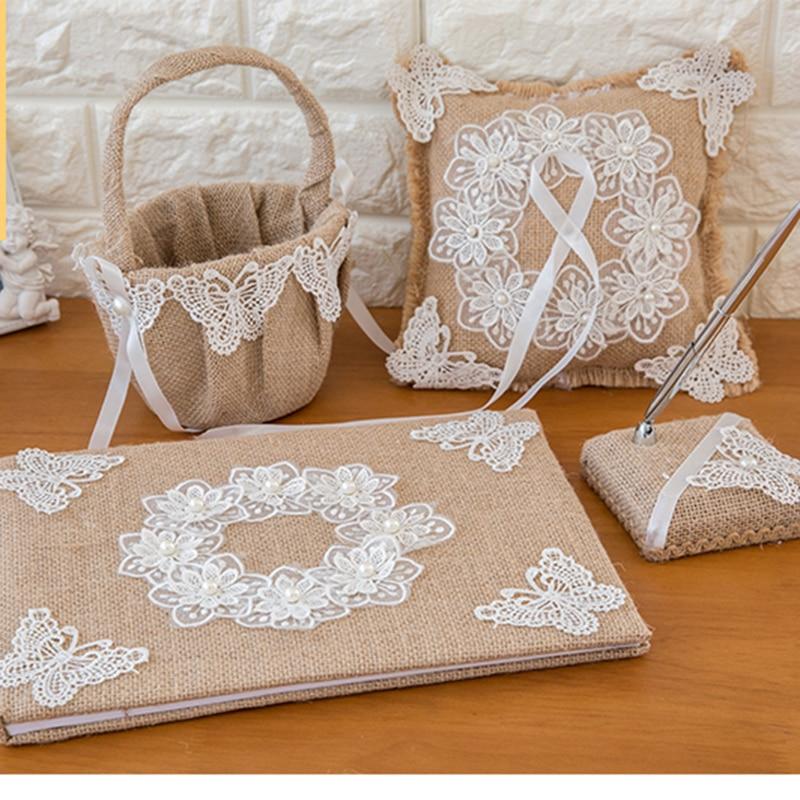 Dentelle toile de jute mariage livre d'or anneau oreiller fleur panier stylo ensemble pour romantique décorations de mariage mariée douche fête fournitures