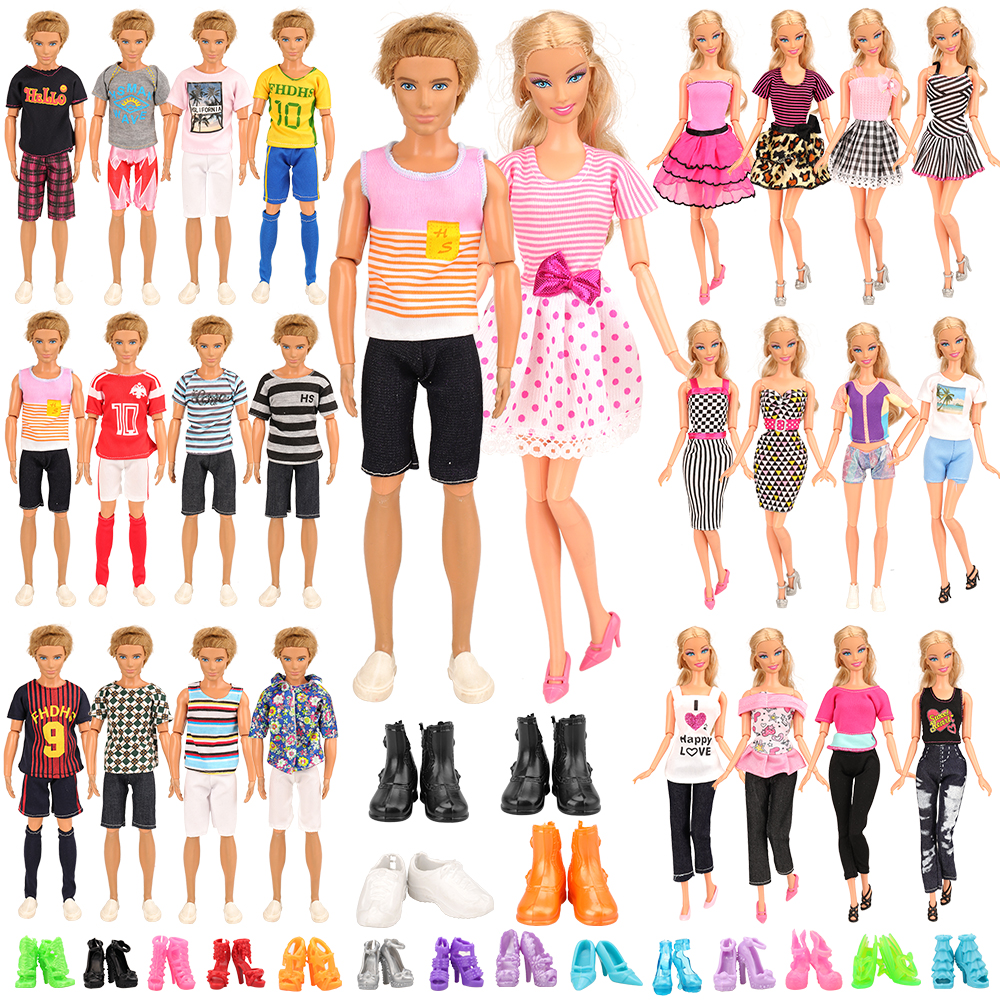 Fashion Handmade 34 Items/set=10 Ken Clothes 4 Ken Shoes Doll Accessories Random Toys 10 Shoes 10  Clothes For Barbie Dressing