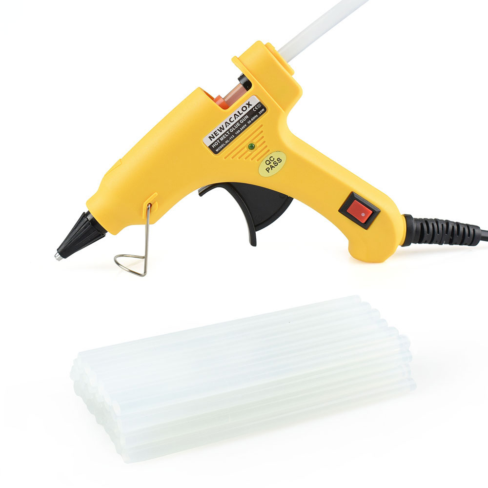 NEWACALOX 20W EU/US Plug Hot Melt Glue Gun with 20pcs 7mm Glue Stick Industrial Mini Guns Thermo Gluegun Heat Temperature Tool newacalox industrial 150w eu plug hot melt glue gun with 1pc 11mm stick heat temperature tool guns thermo gluegun repair tools