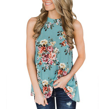 63c8c20b7c52b6 Elegant Sleeveless Halter Womens Chiffon Tops Blouses Vintage Floral  Printed Summer Boho Beach Shirts Backless Slim