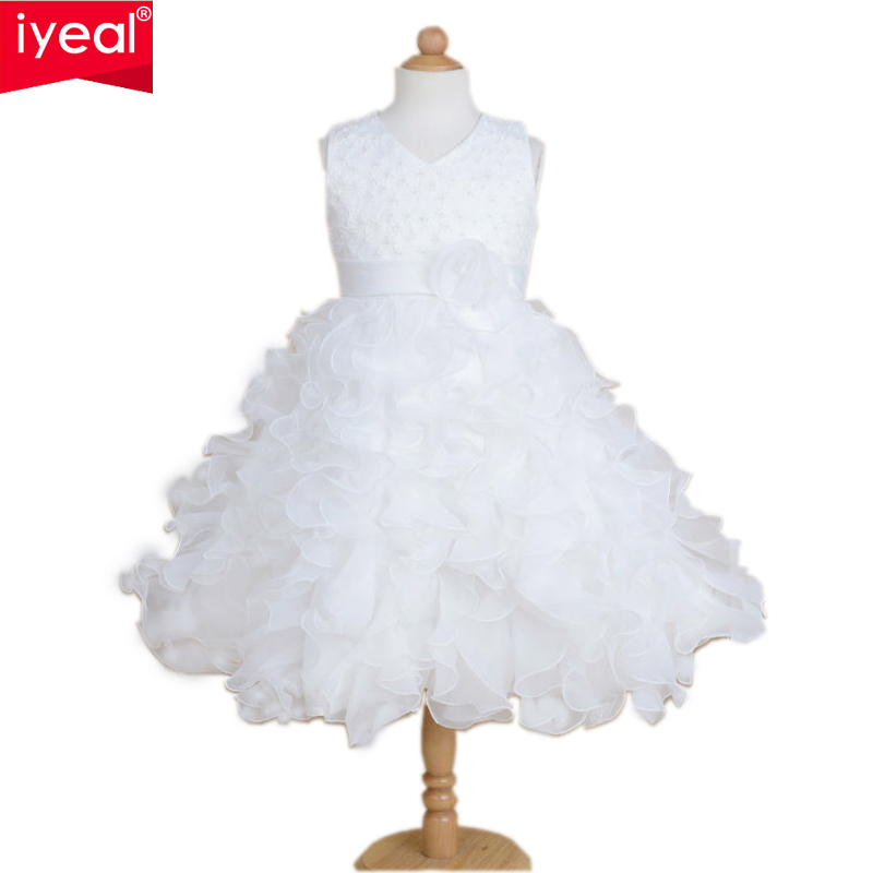 IYEAL High Quality New Flower Girl Party Pageant Princess Dress For Little Girls Glitz Organza Communion Dresses Size 2-10T new arrival 2017 children party dress for girls 2 to 10 years beauty glitz cupcake pageant special occasion dresses baby