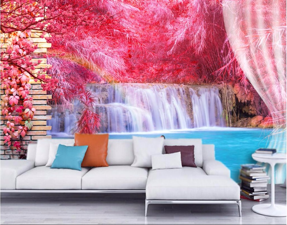 3d room photo wallpaper custom mural Red reed waterfall swan scenery decoration painting 3d wall murals wallpaper for walls 3 d high quality new rc2 6242 000 rc2 6242 arm swing gear assembly for hp p2050 p2035 p2035n p2055d p2055dn p2055n fuser drive gear