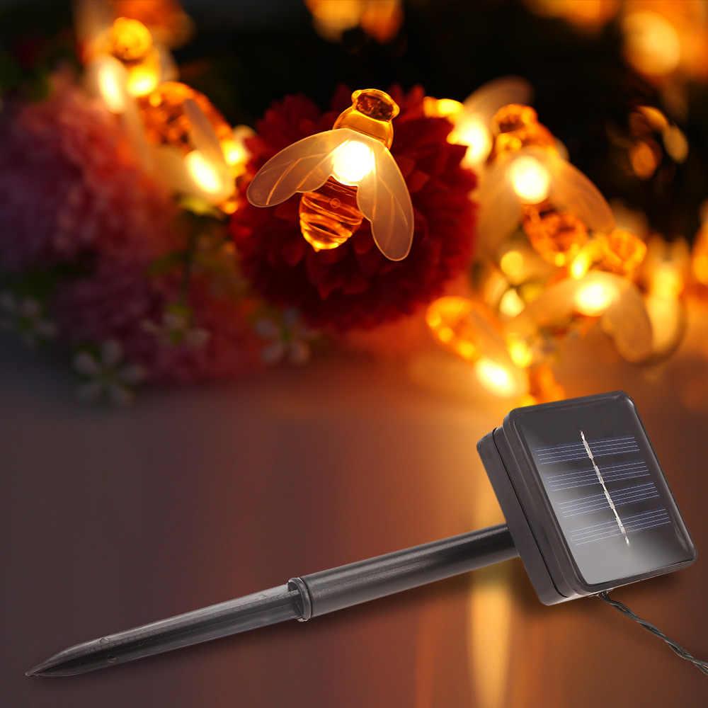 Baru Solar Powered Cute Honey Bee LED String Lampu Peri 20 Le DS 30 LED Bee Outdoor Pagar Taman Patio Natal garland Lampu